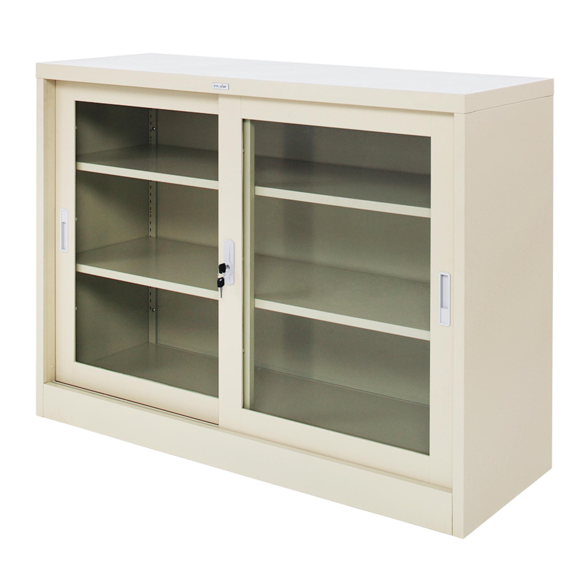 Zingular Zdg 324 Sliding Glass Door Cabinet Cream Freestanding